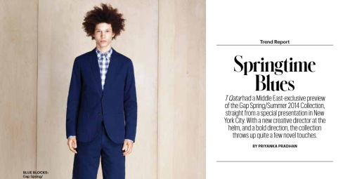 Springtime Blues: Priyanka Pradhan. Published in T Qatar: The New York Times Style Magazine, March 2014